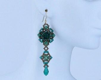 Swarovski emerald crystals earrings (E10006)