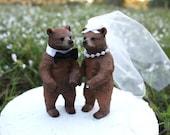 Weddings-bears-bear-wedding-cake topper-bear hunting-groom-rustic-woodland-forest-brown bear-black bear-bride and groom-Mr.and Mrs.