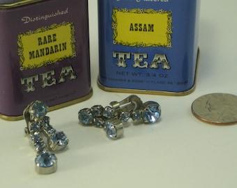 Light Blue Stone Vintage Clip On Earrings