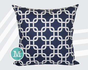 Navy Blue Lattice Gotcha Pillow Cover Sham - 18 x 18, 20 x 20 and More Sizes - Zipper Closure - sc1820