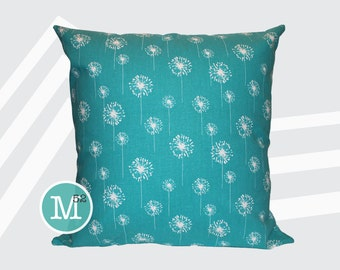 Turquoise Dandelion Pillow Cover - Many Sizes Lumbar, 12, 14, 16 - Zipper Closure - sc246l