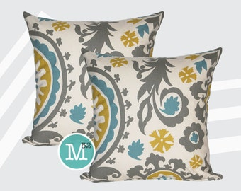 Summerland Yellow, Blue, Grey Suzani Pillow Covers - Many Sizes Lumbar, 12, 14, 16 - Zipper Closure- dc246l