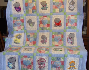 Embroidered Blue Applique Kittens Childs Quilt