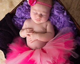 Newborn Tutu Set, Tutu Set, Baby Tutu, Baby tutu set, Hot Pink Tutu, Pink Tutu, newborn Tutu, newborn Photo Prop, first birthday tutu set,