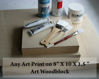 """Any Art Wood Block of Your Choice   8"""" X 10"""""""
