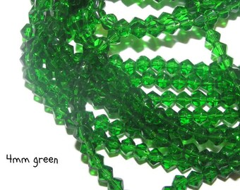 75 - 4mm Glass Bicones - green (065)