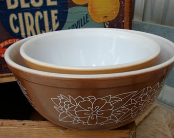 Pyrex Vintage Woodland Bowls 1.5 and 2 quarts