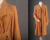 Corduroy jacket brown orange mustard coat spring Bohemian womens size  M medium