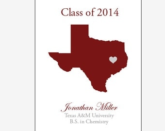 printable Graduation Print personalized college graduation gift long distance state