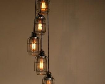 Industrial Jar Chandelier Light -  Pendant Light - Clear Quart Wide Mouths for Edison Style Bulbs