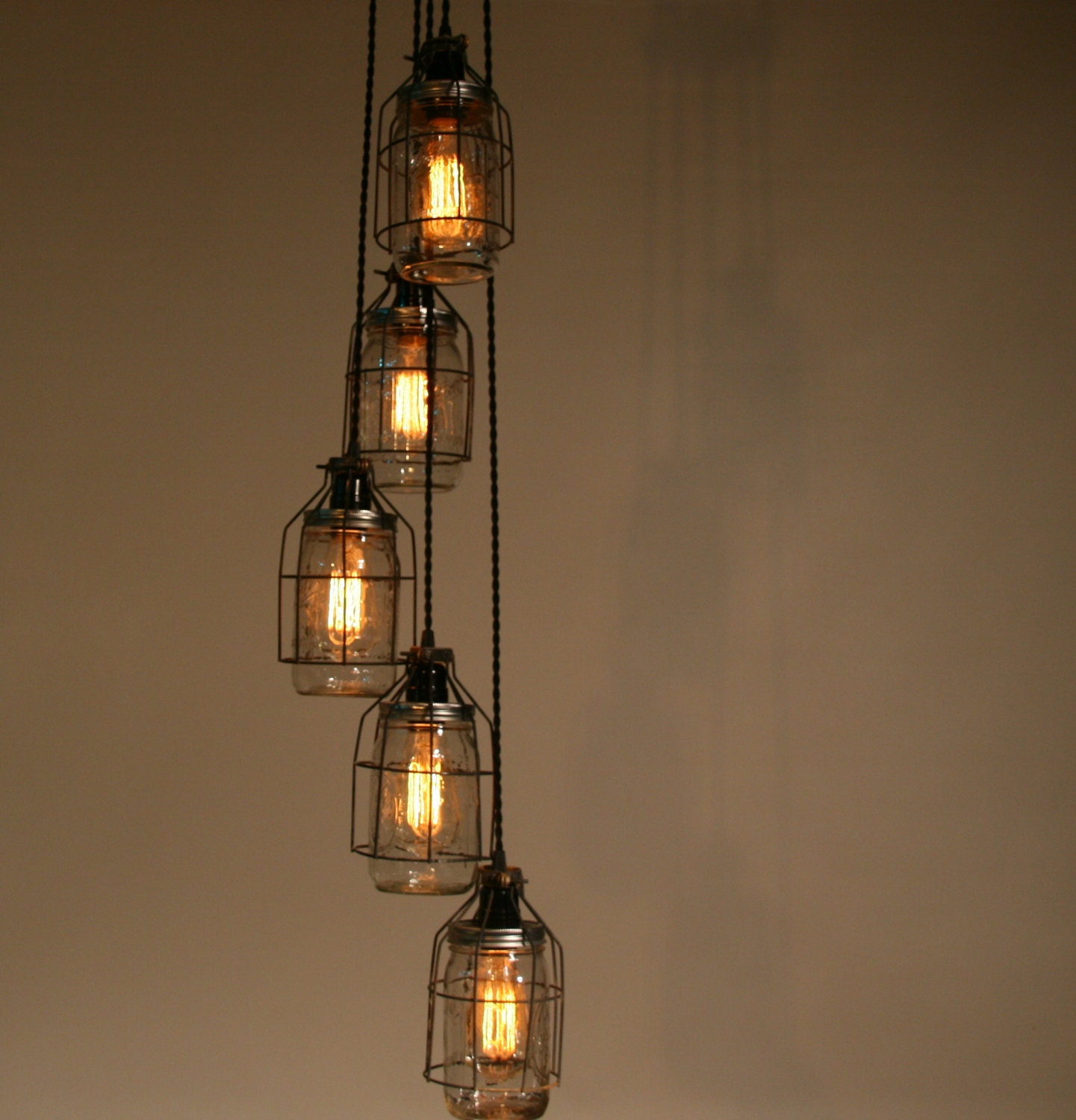 Industrial Jar Chandelier Light Pendant By Industrialrewind