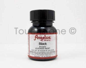 Black Angelus Acrylic Leather Paint - 1oz Bottle  #6-720001
