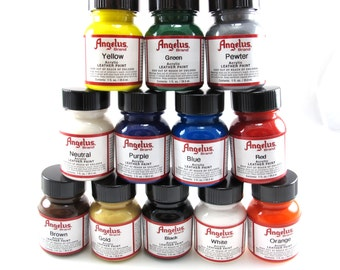 Angelus Acrylic Paint Starter Set, Leather Paint 12 Pack, 4 Free for the Price #6-65