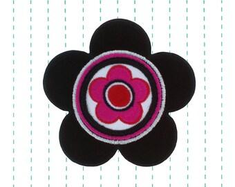 Flower Iron on Applique Black Cordury 60's Patch