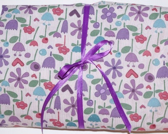 Pack n Play Sheet - Fitted Cotton Playard Sheet -  Purple Teal Floral Family