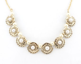 Pretty Gold-tone Victorian Style Pearl Necklace,C6