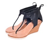 APHRODITE. Black wedge heels / black wedge shoes / womens leather shoes / leather sandals. Size 35-43. Available in different leather colors