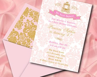 INSTANT DOWNLOAD, Royal Highness,  Princess, Pink, Birthday Girl Printable 5 x 7 Invitation, You Edit Yourself in Adobe Reader