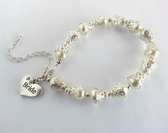 Vintage Style Bridal Bracelet, Pearl Bridal Bracelet, Ivory Bridal Bracelet, Wedding Bracelet, Bridal Jewellery, White Pearl Bracelet