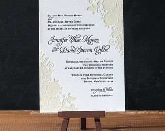 Lace Letterpress Invitation Suite DEPOSIT
