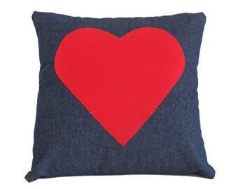 Denim pillow case with red heart