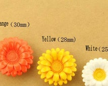 4 pcs 0.98~1.18 inch Fashion Orange/Yellow/White Flower Resin Shank Buttons for Sweaters Coats
