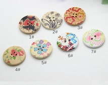 4 pcs 1.18 inch Beautiful Natural Flower Pattern Painted Wood Shell Buttons for Kids Sweaters