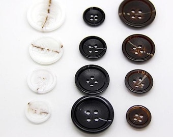 6 pcs 0.59~0.98 inch Black/Brown/White Horn Texture Resin Shell Buttons for Suits