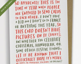 Box of 8 Awkward Holiday Cards by Emily McDowell