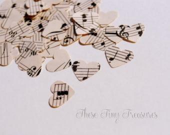 Vintage Music Heart Confetti, Wedding Confetti, Wedding Decor, Mini Hearts, Heart Die Cut, Scrapbook