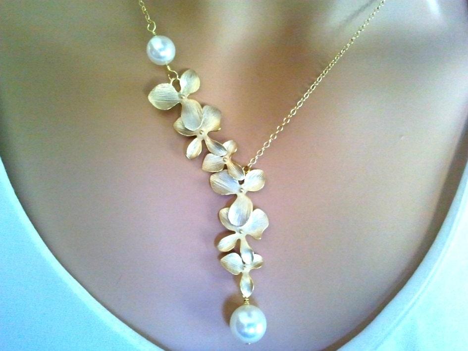Orchids Wedding Necklace Orchid Pendantstatement