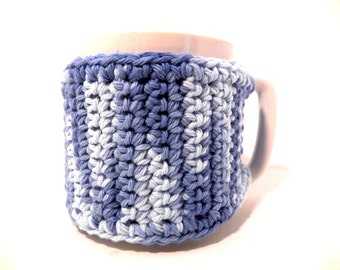 Cup cozy crochet handmade coffee cup sleeve light and medium blue-blue button