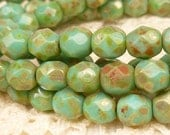 6mm Turquoise Green Picasso Firepolished Faceted Round Czech Glass Beads (30) - FP6/143