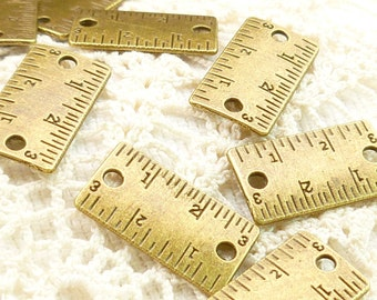 Inch Ruler Connector Piece Finding Charm Antique Bronze (6) - A77