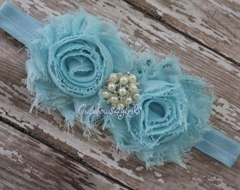 Baby blue flower headband - baby blue headband - light blue  shabby headband - light blue headband - headband - newborn girl headband - baby