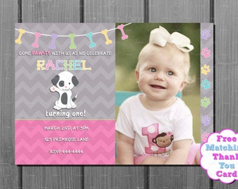 Girl Puppy Dog Birthday Invitation and FREE Thank You Card Printable DIY