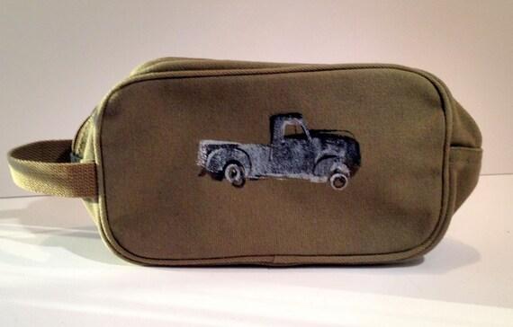 Military Green Screen Printed Shaving Kit Bag, Military Inspired.  Travel Bag.  Toiletries Bag