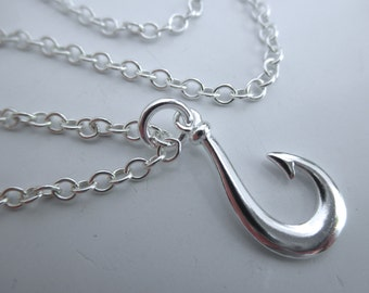Fish hook sterling silver chain necklace
