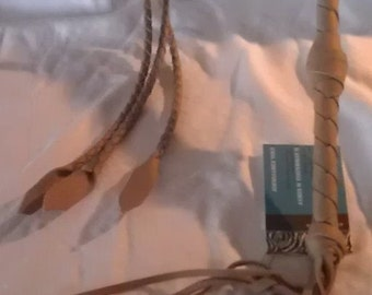 Tan Leather Quirt  whip