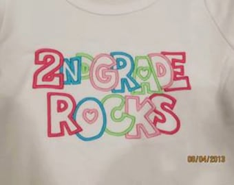 2ND GRADE ROCKS Custom saying embroidered t-shirt or one piece w/snaps, kids boys girls