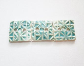 Set of 3 Square Porcelain Buttons - Large Buttons