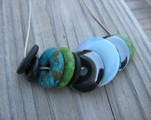 JEWELRY SALE- BOLD, Statement Necklace-Black, Lime Green, Turquoise Blue, etc.