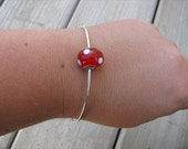 Simple Bangle Bracelet with Red and White Polka Dot Glass Bead- Minimalist Bracelet
