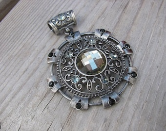 Black/ Antique Silver Medallion Pendant