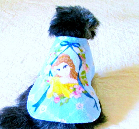 "Fleece Dog Coat Made to Order for Small Dogs - Multicolored Pastel ""Princess Bouquet"" Print with Baby Blue Background"