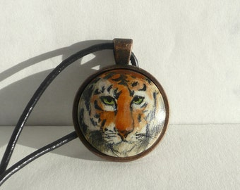 Hand Painted Animal Necklace, Tiger Necklace Tiger Pendant, Small Painting Jewelry, Animal Art, Wild Cat Necklace Handmade, ARTDORA Shop
