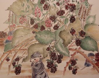 Mouse blackberry harvest Large greeting card, mouse illustration, Plumb Sweet Woodland mice