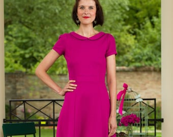 "Dress ""Elisa"", with a round collar in magenta"