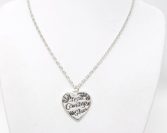 Silver Plated Serenity/Courage/Wisdom Heart Charm Necklace