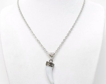Small White Horn w Silver Plated Cap Pendant Necklace
